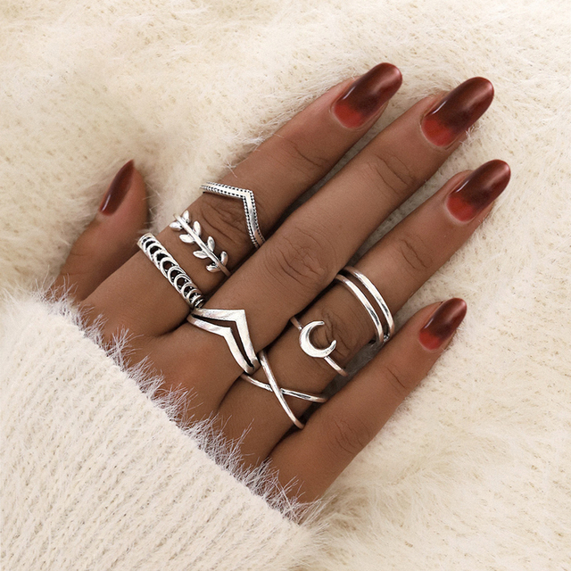 docona Leaf Moon Crescent Rings for Women Antique Punk Knuckle Midi Rings Set Vintage Anillos  Jewelry Accessories 7pcs/set 9893 1