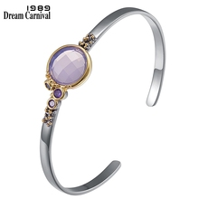 DreamCarnival1989 Brand New Cuff Bangle for Women Light Thin Daily Fashion Bracelet Pink Purple Zircon Hot Pick Jewelry WB1227