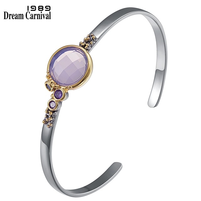 DreamCarnival1989 ブランド新のための薄型軽量毎日ファッションブレスレットピンク紫色のジルコンホットピックジュエリーWB1227