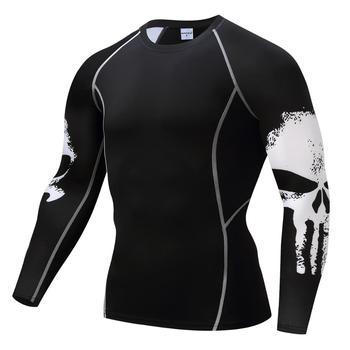Koszulka sportowa kompresyjna męska koszulka z długim rękawem Fitness 3D szybkoschnąca koszulka do biegania odzież sportowa Top Rashgard odzież Fitness tanie i dobre opinie PADEGAO Wiosna summer AUTUMN Poliester Pasuje prawda na wymiar weź swój normalny rozmiar MMA Long Sleeve T-Shirt