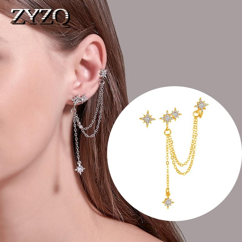 ZYZQ Fashion Eight-Pointed Star Earrings Korean Sweet Single Tassel Ear Earrings Integrated Earrings