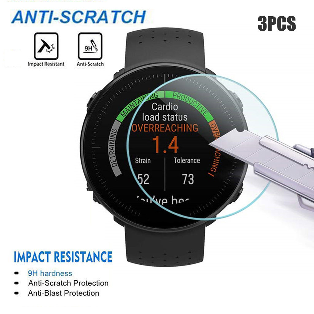3PCS Tempered Glass For Polar Vantage V/M Watch Screen Protector Vidrio Templado Bubble Free Anti Scratch Easy To Install Glas