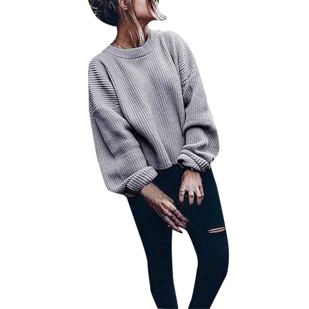 Autumn And Winter Women's Sweater Long-sleeved Round Neck Solid Color Lantern Sleeve Sweater Casual Warm And Comfortable Fashion