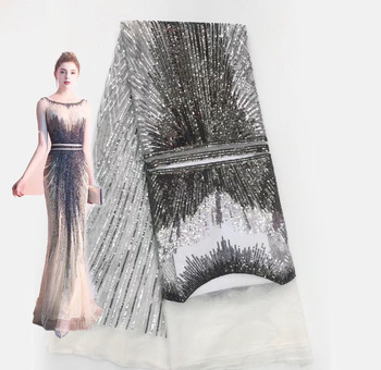 цена на tailor shop Round neck sequins embroidered fashion evening dress skirt lace lace fabric wedding dress lace pattern sequin lace