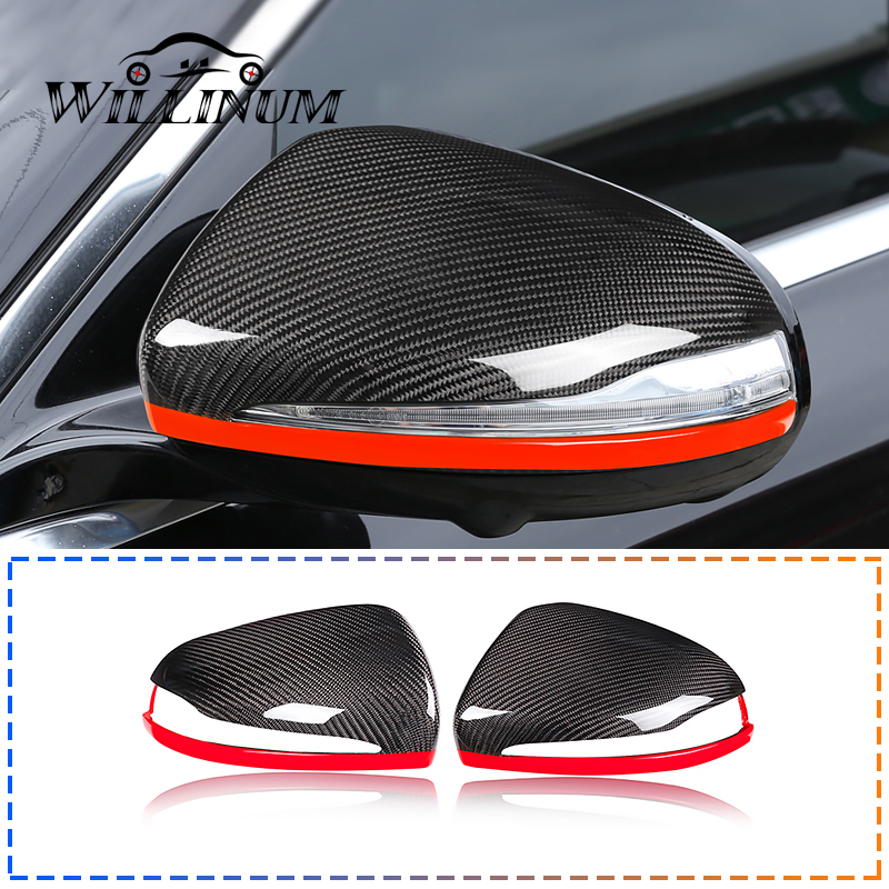 For MERCEDES BENZ W204 W212 W218 176 Real Carbon Fiber Side Mirror Cover Replace