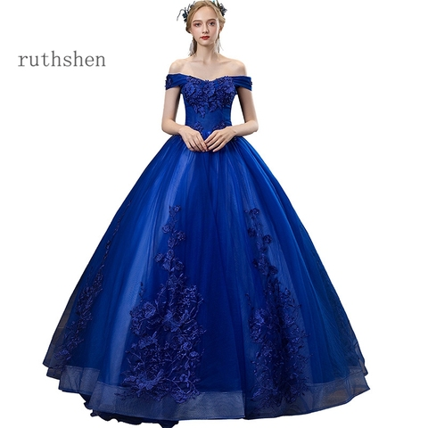 Vestidos de Baile Vestidos de Gala Vestido de Baile Shoulder Apliques Beading Largos Azul Royal Puffy Masquerade Off The