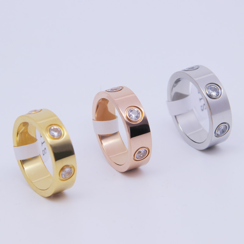 Beautiful Shiny 6 Crystal Ring For Women Titanium Steel Top Quality High Polished Love Ring Classic Brand Jewelry Drop Shipping 3