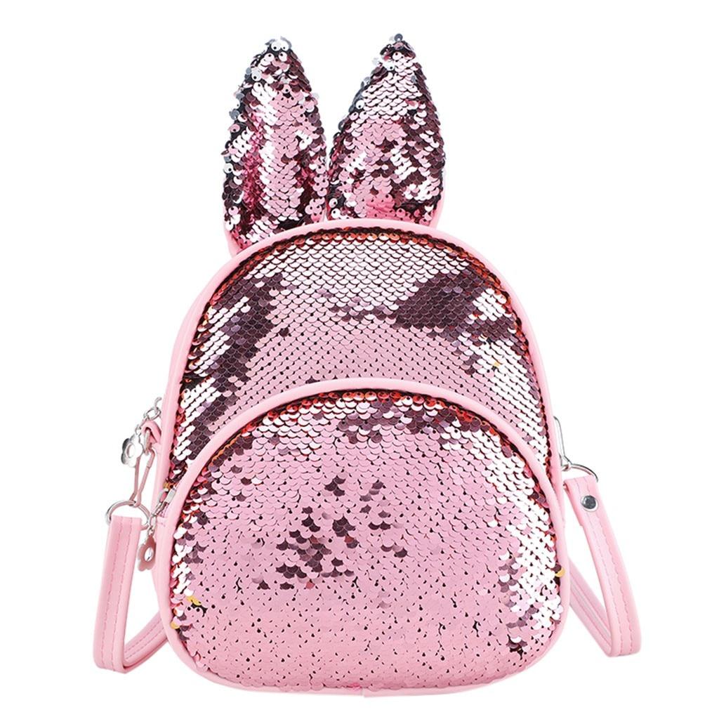 Fashion Trend Sequins Cute Rabbit Ears Children's Bag Shoulder Bag  Bag  Backpack For Children  2019 New Backpack  School Bag