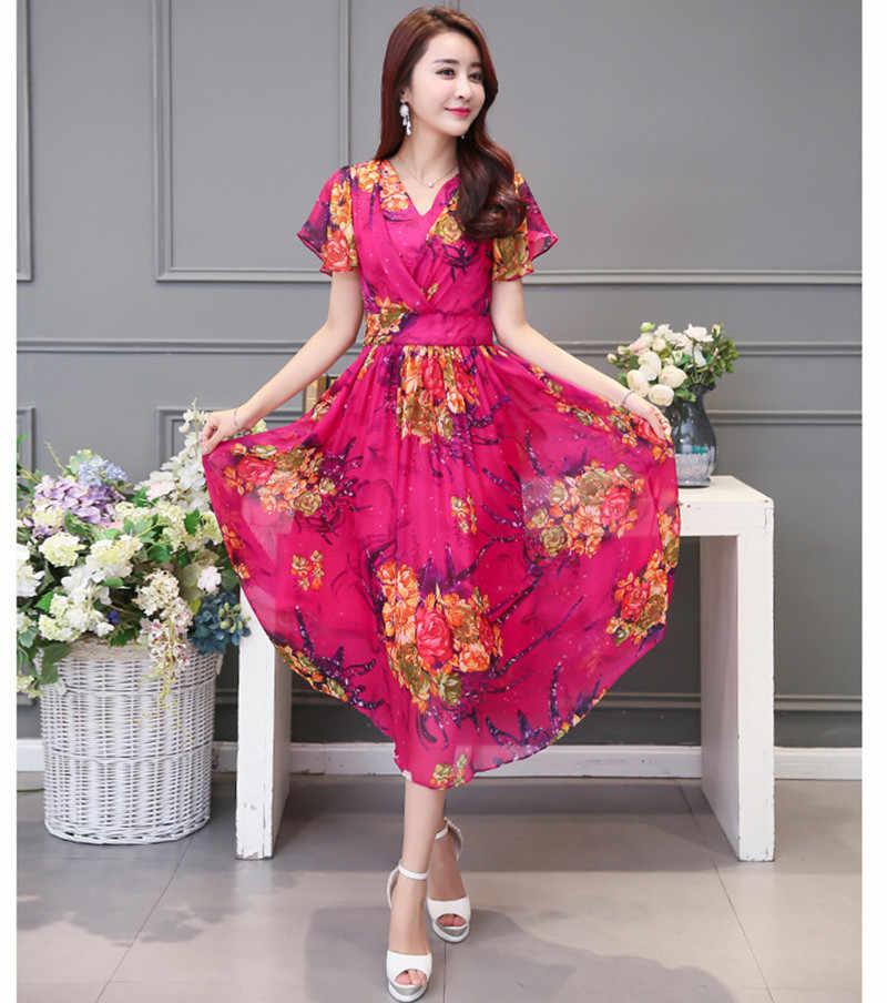 2020 été robe en mousseline florale femmes Sexy col en v bohème plage longues robes Vestido décontracté mince Maxi robe de soleil WXF775 es