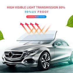 SUNICE 152X50CM 80% Visible Light Car Window Tint Film Blue Chameleon Privacy Protective Glass Film Adhesive UV-Proof Car Foils