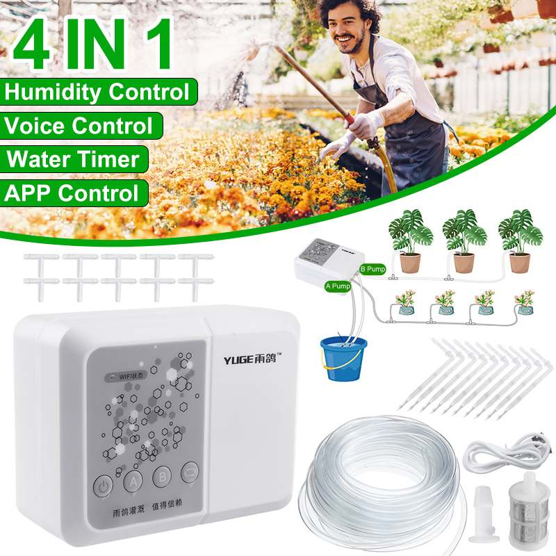 4 IN 1 WIFI Voice APP Control DIY Automatic Micro Drip Irrigation System Smart Garden Timing Irrigation Spray Self Watering Kits