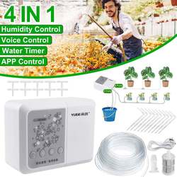 Sistema de riego por microgoteo automático 4 en 1 con Control de aplicación por voz por WiFi, Kits de riego por aspersión de jardín inteligente