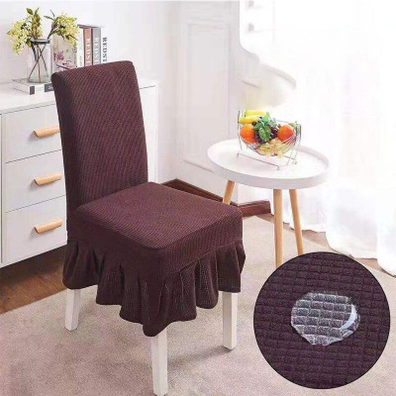 Ruffled su geçirmez sandalye kılıfı streç elastik koltuk Slipcover çıkarılabilir yıkanabilir düğün ziyafet için yemek odası otel parti