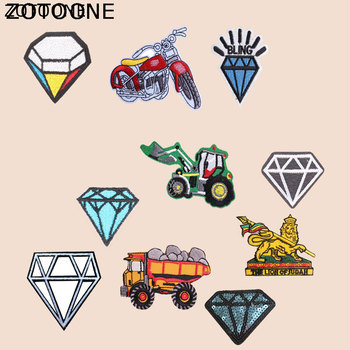ZOTOONE Diamond Patch Motorcycle Car Stickers for Kids Iron on Patches for Clothing Heat Transfer Diy Accessory Appliques G image