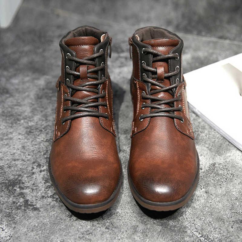 ZYYZYM Mannen Laarzen Lederen Herfst Winter Vintage Stijl Enkellaars Mannen Lace Up Schoenen Mode Casual Schoenen Mannen Botas Hombre