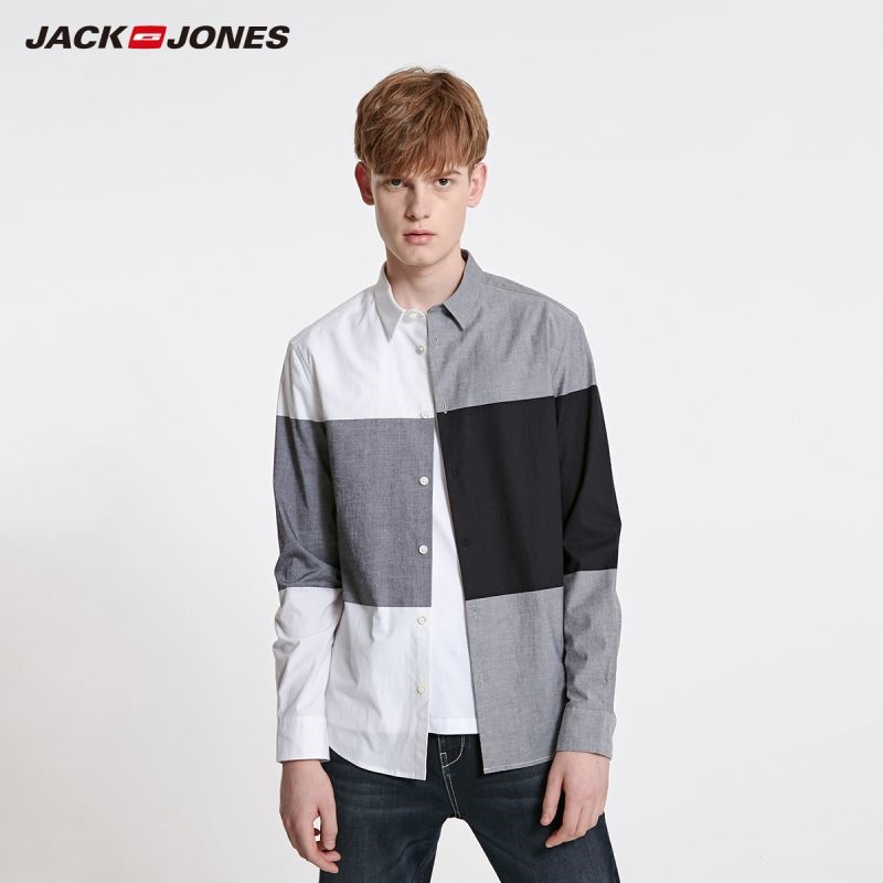JackJones Men's Straight Fit Cotton Spliced Plaid Long-sleeved Shirt Style| 219105515