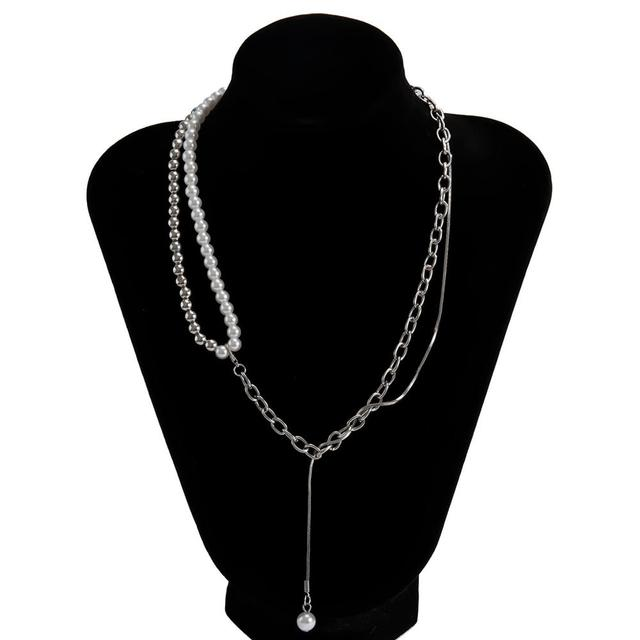 Goth High Quality Pearl Chain Necklace  5