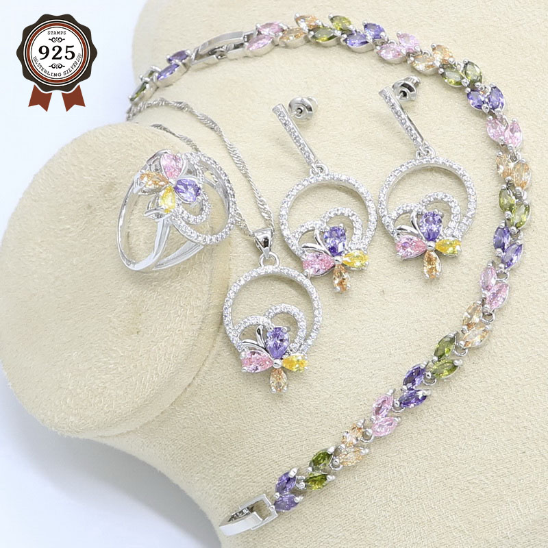 Multicolor Zircon Silver Color Wedding Jewelry Set for Women Bracelet Earrings Necklace Pendant Ring Birthday Gift