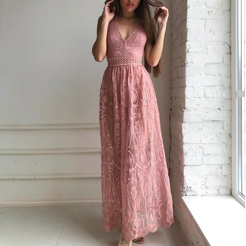 V Neck Lace White Elegant Maxi Long Dress Spring Summer Hollow Out Backless Vestidos Sexy High Waisted Women Chic Dresses