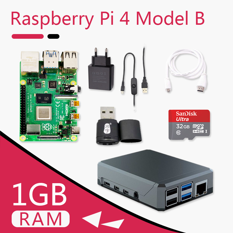 Original Raspberry Pi 4 Model B 1G Kit Pi 4 Board Micro HDMI Cable Power Supply With Switch Case With Fan Heat Sinks