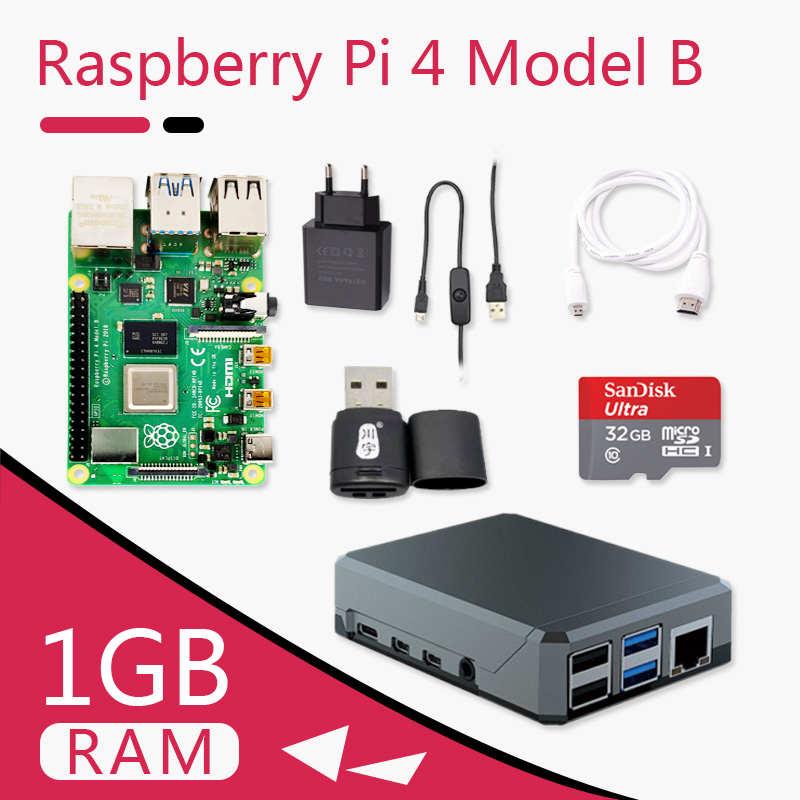 Originele Raspberry Pi 4 Model B 1G Kit Pi 4 board Micro HDMI Kabel Voeding Met Schakelaar Case met Ventilator Koellichamen