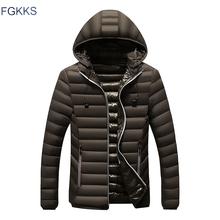 FGKKS New Arrival moda mężczyźni parki zimowe męskie Casual kurtka z kapturem kurtka płaszcz męskie wysokiej jakości parki płaszcze tanie tanio COTTON Poliester 0 6KG REGULAR Na co dzień STANDARD NONE Stałe zipper Parkas Suknem