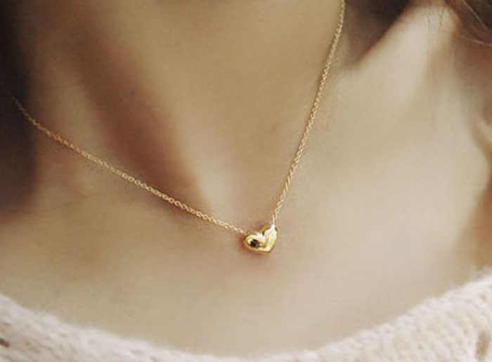 Fashion  Anniversary Jewelry Women Gold Heart Necklace Bib Statement Chain Pendant Necklace Hot Sale Jewelry