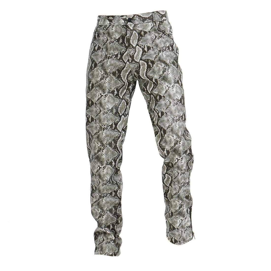 Casual Pants Men's Trousers Snake Pattern PU Leather Tide Men's Pants Slim Fit Leisure Zip Design New