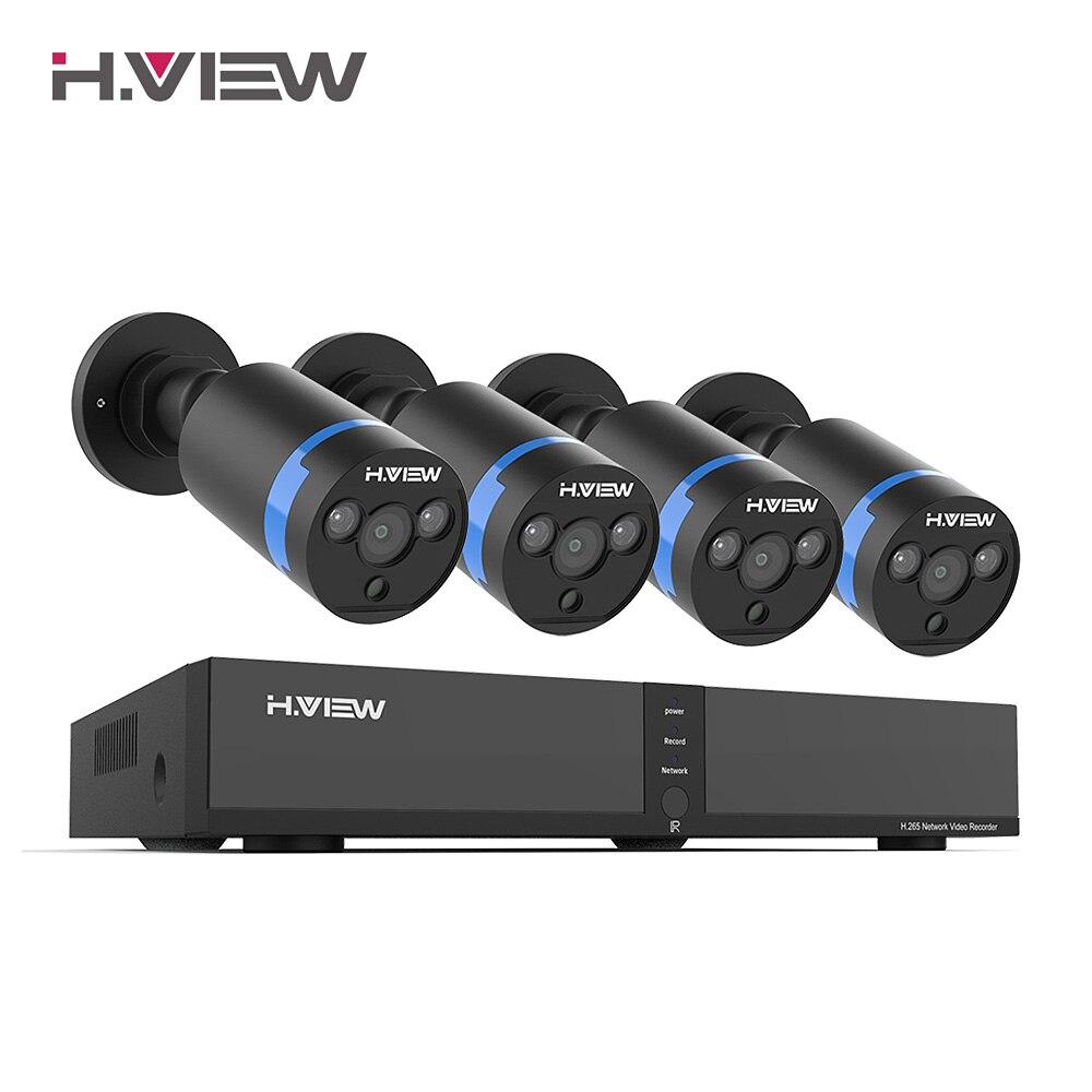 H. Vue vidéo Surveillance poe Kit de caméra ip 4MP système de sécurité de caméra de vidéosurveillance 8CH enregistrement Audio extérieur H.265 nvr ensemble de caméras