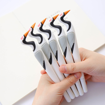 48PCS Cute Girl Pink Bird Silica Gel Pen Signature Needle Tube Pen 0.5mm Black Pen kawaii school supplies stationery