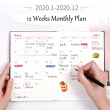 Notebook Weekly Monthly Daily Planner A5 Notepad Agenda 2020 Organizer Cute Crack PU Cover Journal Office Stationery
