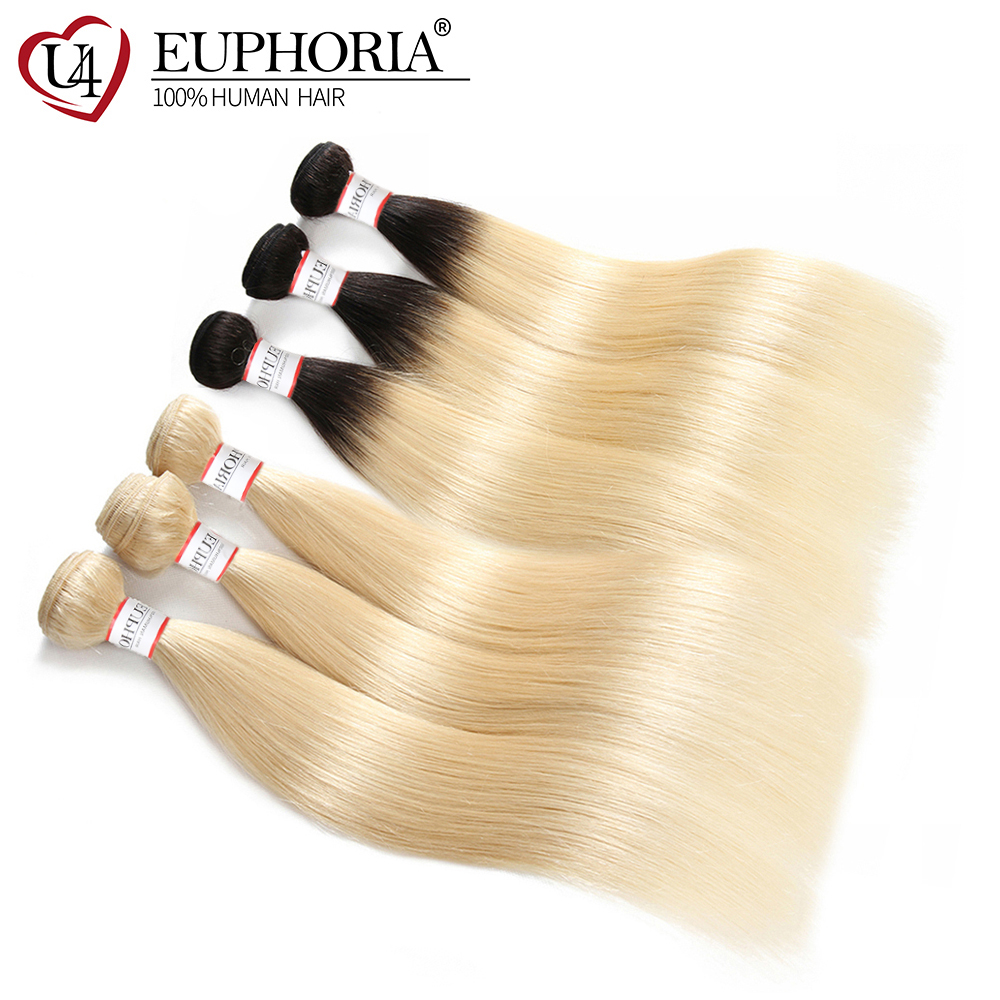Brazilian 100% Remy Hair Weave Bundles EUPHORIA Ombre Black Platinum Blonde 1B 613 Straight Human Hair Bundle Weft Extensions