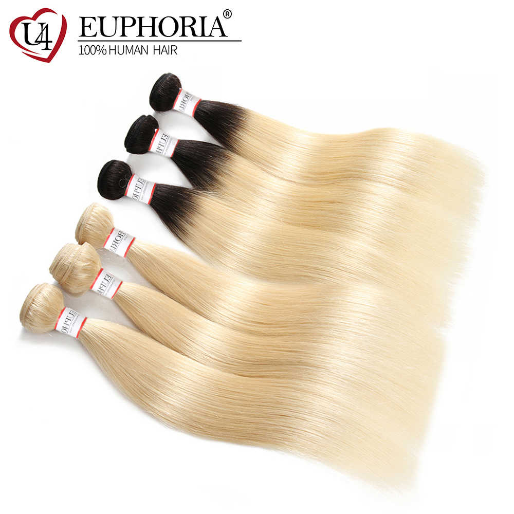 Brasil 100% Remy Rambut Menenun Euphoria Ombre Hitam Pirang Platinum 1B 613 Lurus Rambut Bundel Manusia Pakan Ekstensi