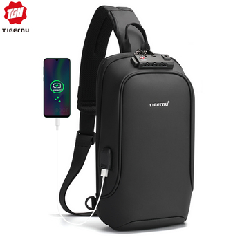 Tigernu New Men Bag USB Charging Chest Bag RFID High Quality Splashproof Chest Bag Outdoor Male Bags Short Trip Messenger Bags
