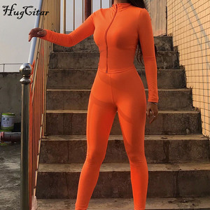 Image 3 - Hugcitar 2019 긴 소매 지퍼 업 bodycon 탑스 레깅스 2 2 개 세트 가을 겨울 여성 패션 streetwear 핑크 티셔츠 tra