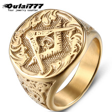oulai777 signet-ring big wide masonic ring for man men gold rings stainless steel punk mens Golden male accessories pride
