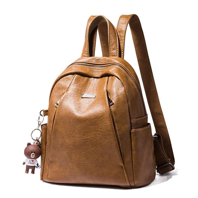 Genuine Leather Vintage Bags For Women Backpack Luxury Brand Designer Ladies Shoulder Travel Rucksack Girl Laptop School Bagpack in Backpacks from Luggage Bags