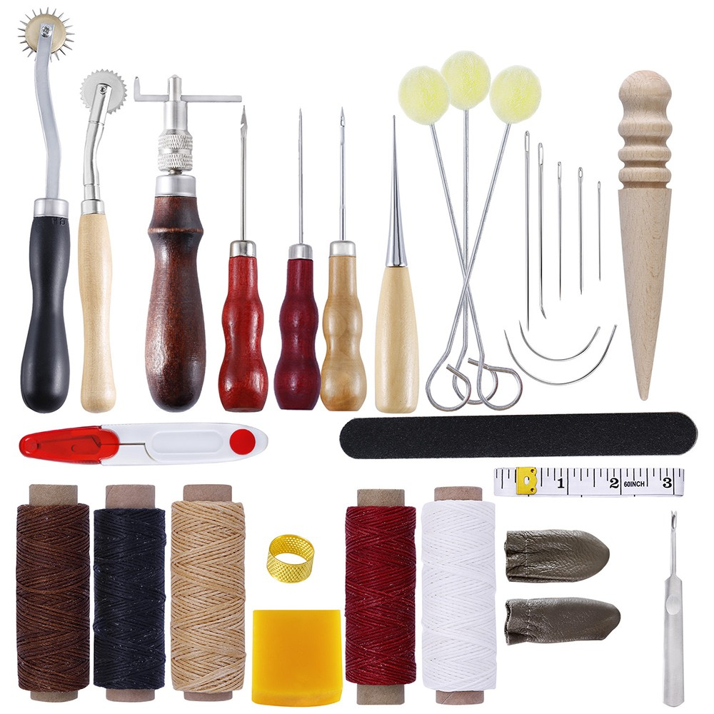 1set Stitching Carving Working Sewing Saddle Groover Leather Craft Tools Set Leather Craft Punch Tools Kit Set