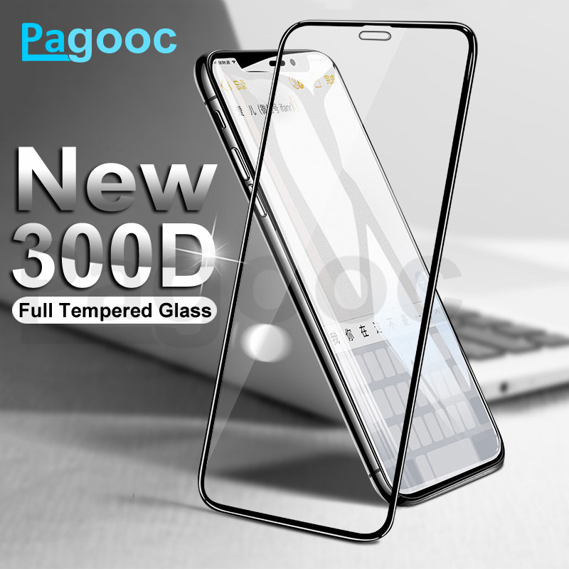 <font><b>300D</b></font> Full Cover Tempered Protective Glass on the For iPhone X XS XR 6 6S 7 8 Plus 11 Pro Xs Max Glass Screen Protector Film Case image