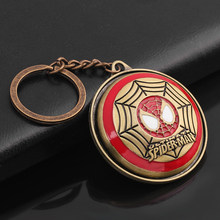 Avengers Spiderman Rotatable Keychain red enamel Super Hero mask web pendant keyring for Men fans key holder Jewelry gifts(China)