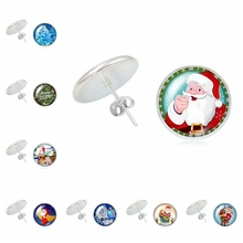 2020 New Boho Christmas Gift Santa Claus and Deer Series Glass Convex Ladies Earrings Ladies Jewelry Gifts