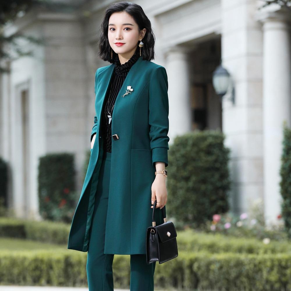 Women Suit Pant Suit Female Elegant V Neck Long Jacket Pant 2 Piece Suit Green Jacket Trouesrs Women's Clothing 3302