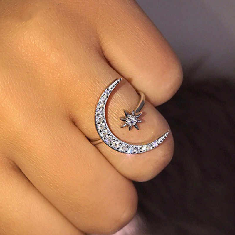 New Fashion Crescent Ring Moon Star Exaggerated Shiny Crystal Open Rings for Women Girls Bridal Party Wedding Jewelry Gift