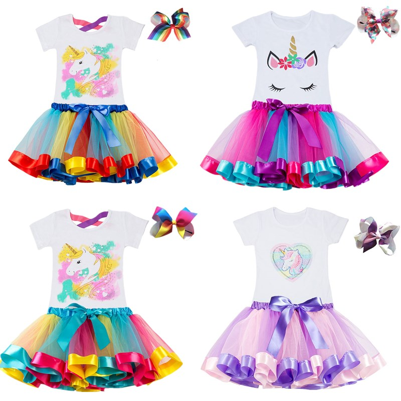 Kids Clothes Summer Fashion Unicorn T shirt whit Skirt Baby Girls Clothes Chilren Birthday Clothes Sets for 3 4 5 6 7 8 Yrs Girl