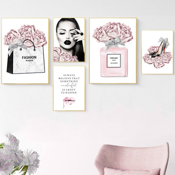 Fashion Lady Poster Perfume Bottle Canvas Art Painting Pink Flower Wall Prints High Heels Posters Modern Girl Room Home Decor perfume fashion poster eyelash lips makeup print canvas art painting pink flower wall picture modern girl room home decoration