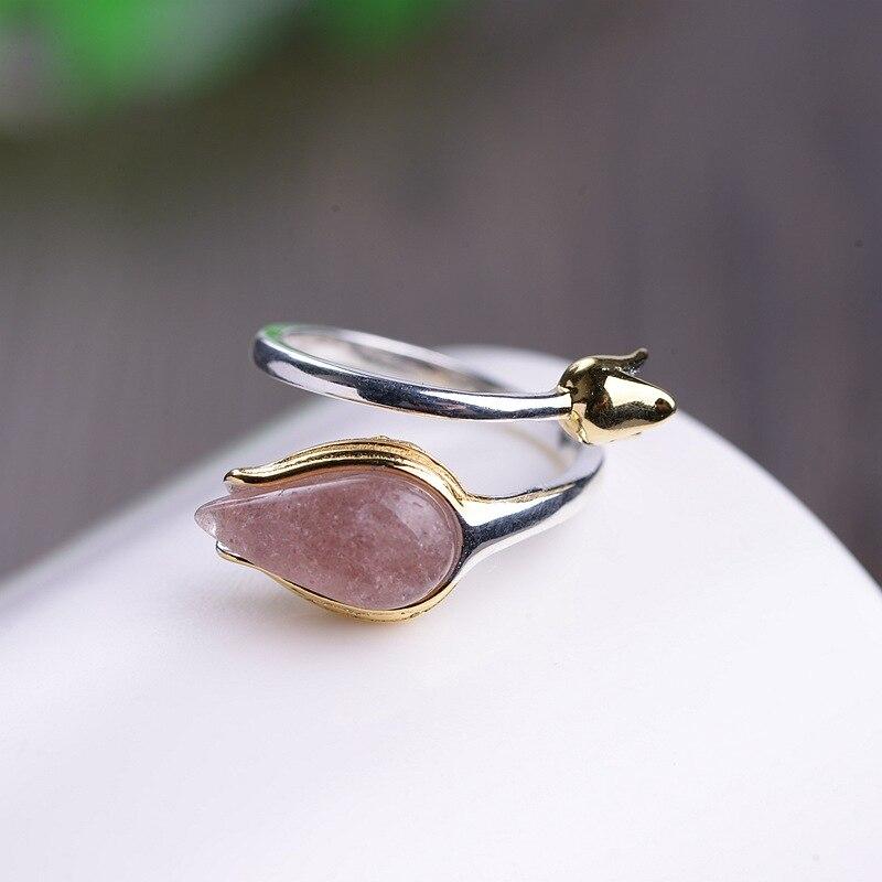 Подлинный 925 пробы Серебряный цветок тюльпана кольца для женщин аксессуары натуральный розовый кварц изменяемый Размер ювелирные изделия Anello Donna