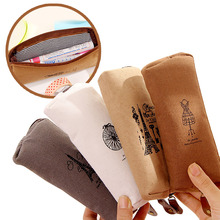 Retro Pencil Bag, Fresh and Simple Cotton-linen Paris Tower, Romantic Box, Large Capacity, Office Learning