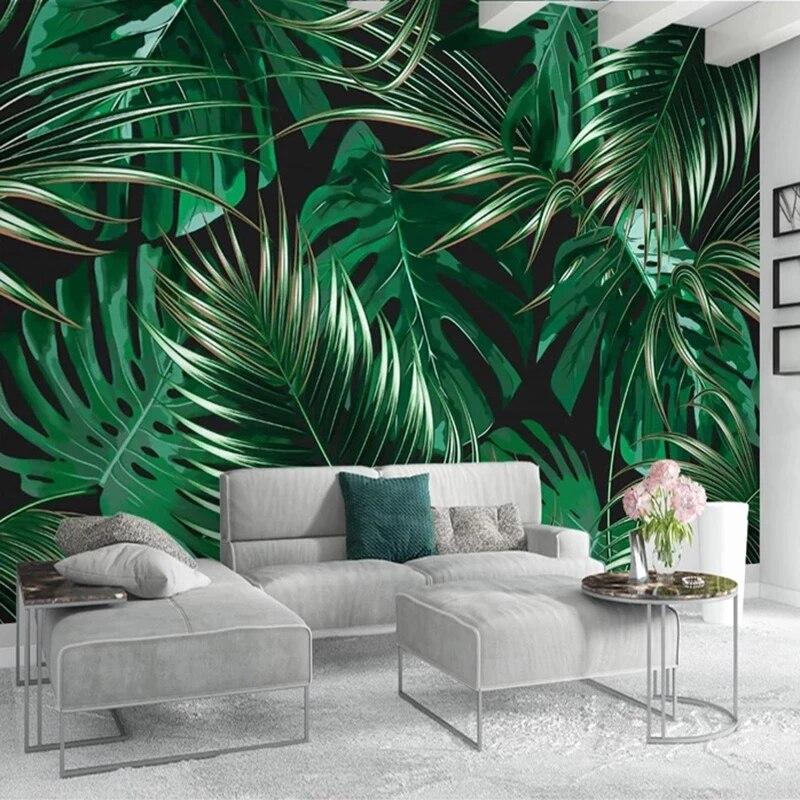 Самоклеящиеся обои на заказ, настенные 3D-обои любого размера с зелеными листьями, Декор для дома, гостиной, спальни, водонепроницаемые