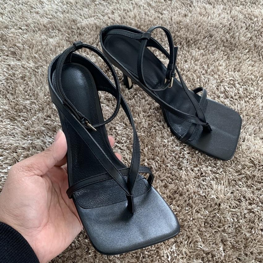 9CM Black Leather Pumps Women Sandal Shoes Summer High Heels Sandals Woman Party Shoe Wedding High Heel Shoes Ladies