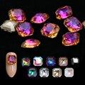 Кристаллы AB Стразы, драгоценные камни для ногтей, пламя, квадратное стекло, 3D алмазный камень, украшение, блеск, аксессуары для маникюра, инс...